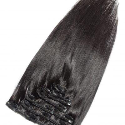 Clip-on hair extensions, 100 g, 50 cm, virgin hair sort-brun