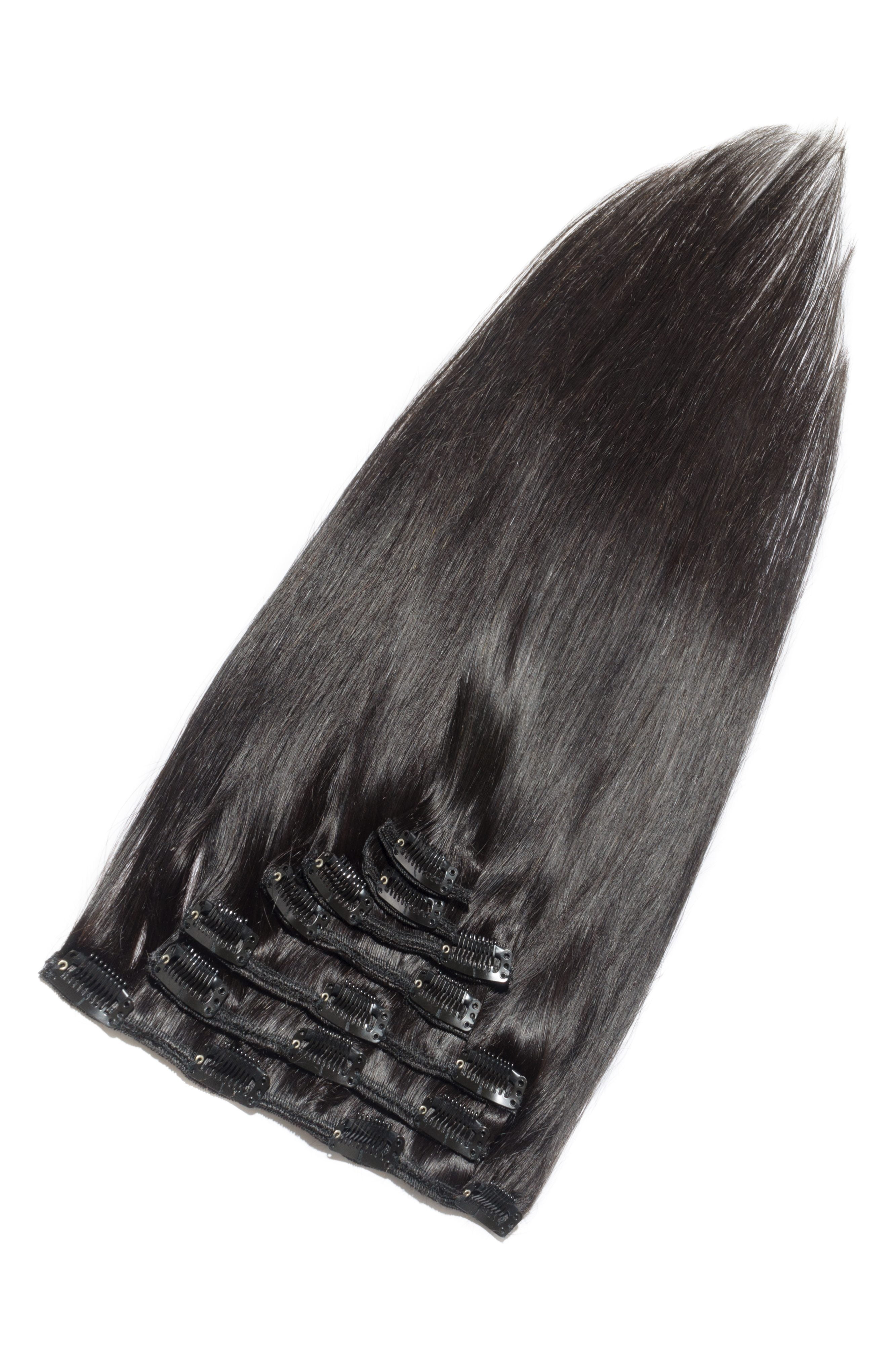 Clip on hairextensions virgin hair sort-brun