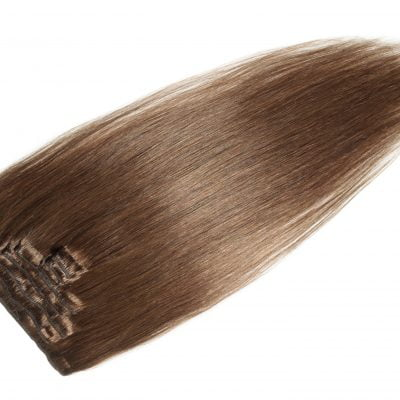 Clip-on hairextensions, 100 gram, 50 cm, farve 8